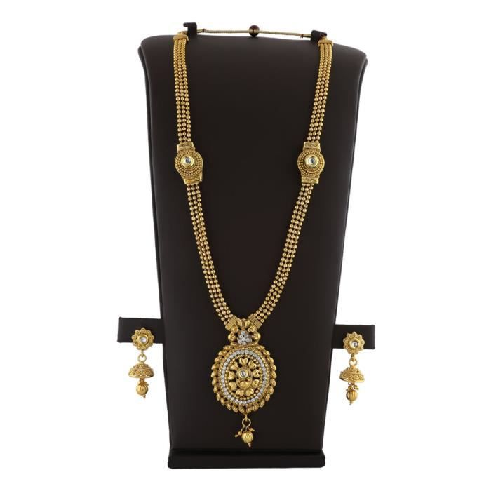 Womens Golden Finish Studded With Sparkling White Stones & Kundan Traditional Long Necklace Set Fo JS6KM