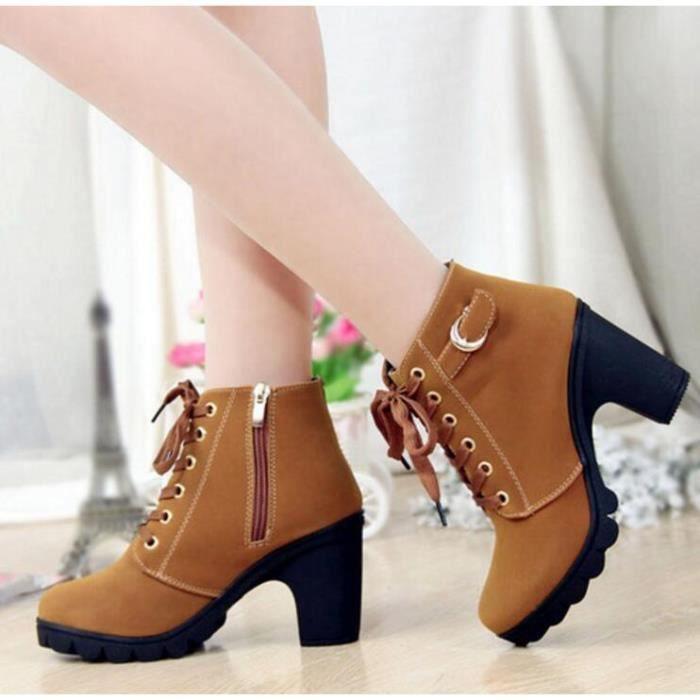 7890c29f1878f4 ... WONZOM® Hiver Talon haut talon épais Bottines à lacets Ladies Buckle  Platform Chaussures femme taille ...