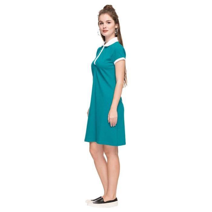 les femmes par les acheteurs arrêtent la robe de chemise solide à col 1F263O Taille-36
