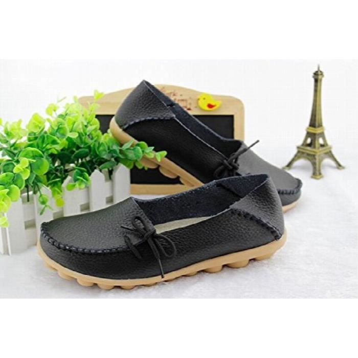 Comfortable Rubber Sole Leather Flats Slip On Loafer Shoes DB16O Taille-41