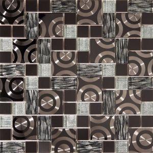 CARRELAGE - PAREMENT 1 m² Carrelage mosaïque en verre et acier inoxydab