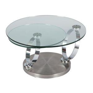TABLE BASSE Table basse articulée Acier/Verre - VERRO - L 80 x