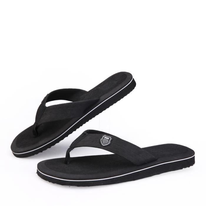 Tongs homme meilleure qualité 2017 nouvelle marque de luxe chaussure Confortable Nouvelle mode chaussure homme plein air noir44
