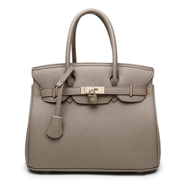 110d0ee9a5 Femmes style simple grande capacité PU Tote Sac à main tendance épaule  unique Sac bandoulière - Elephant gris