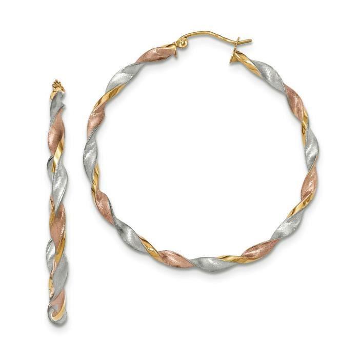 Tri-color 14 carats-Satin Boucles doreilles créoles torsadées