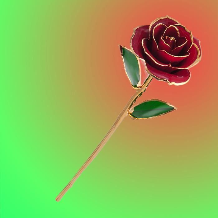 Valentin 24k Rouge Rose Fleur Romantique Longue Tige Pour Amant