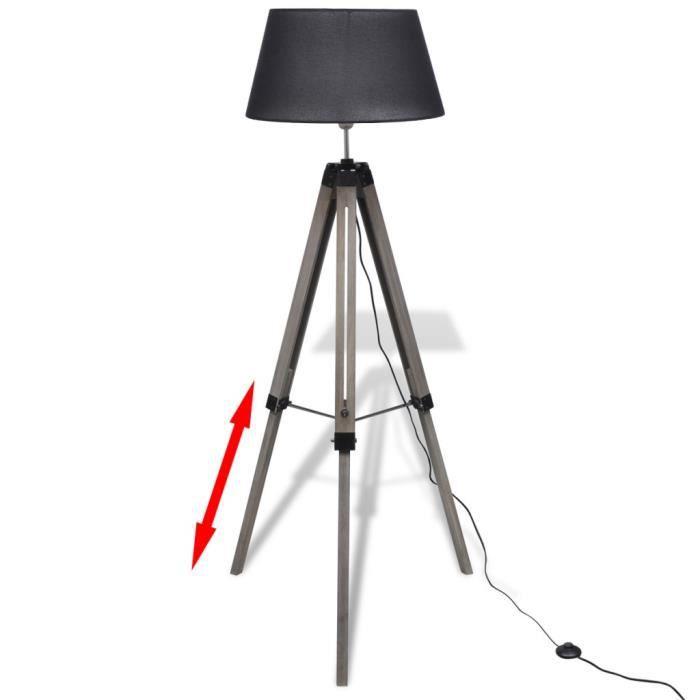 lampadaires lampadaire trepied en bois reglable avec abat jour en tissu noir achat vente. Black Bedroom Furniture Sets. Home Design Ideas