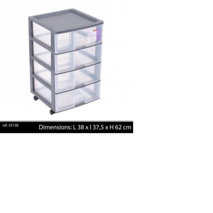 tour de rangement 4 tiroirs plastique gris roulettes x x cm achat vente. Black Bedroom Furniture Sets. Home Design Ideas