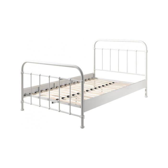 lit enfant double m tal blanc new york 212 achat vente structure de lit lit enfant double. Black Bedroom Furniture Sets. Home Design Ideas