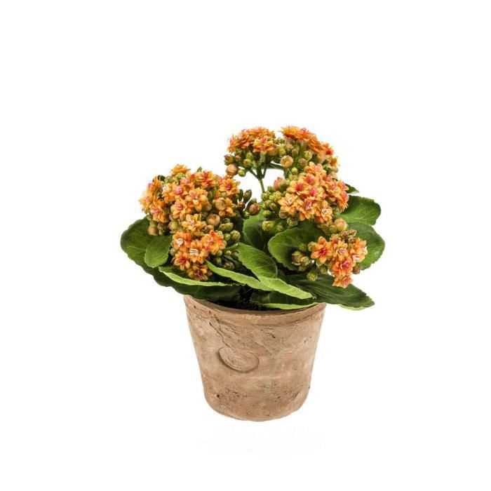 Kalanchoe Artificiel Fajra Avec Des Fleurs Orange 22 Cm Fleur