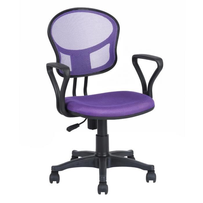 Homy Casa Chaise De Bureau Fabric Fauteuil Violette Hauteur Reglable
