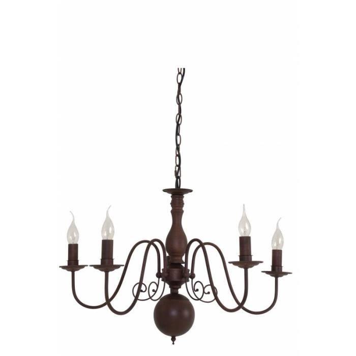 Rétro 5 Luminaire Hollandais Style Eclairage 50x70x70cm Christina En Lustre Baroque Métal Lumières Patiné Rouille Suspension 7Yb6gyvf