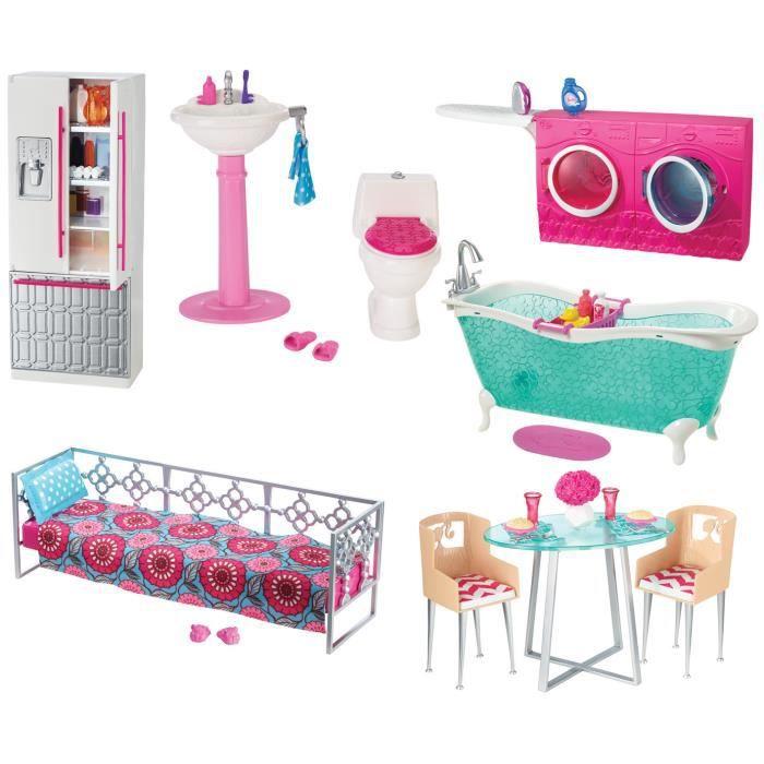 salle de bain barbie achat vente jeux et jouets pas chers. Black Bedroom Furniture Sets. Home Design Ideas