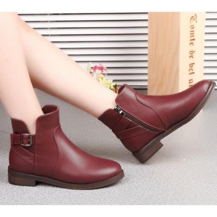 Martin bottes femmes bottes épaisses avec rétro...