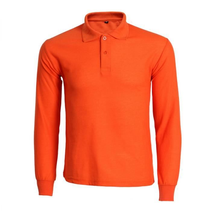 Polo Homme Solide Manches Longues Polo Shirt Homme Slim Fit Polo Homme  Marque 91e196374ee