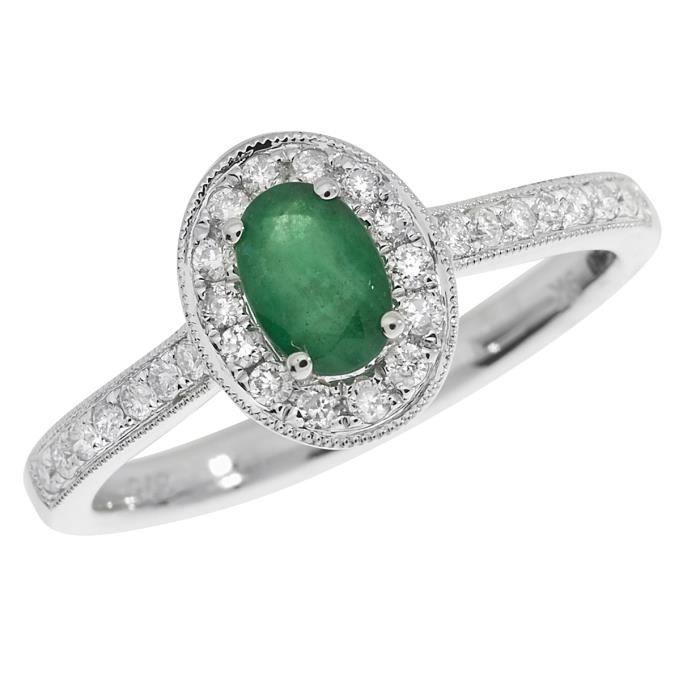 Bague Femme Pavage Or Blanc 375-1000 et Diamant Brillant 0.25 Carat HI - I1 avec Emeraude
