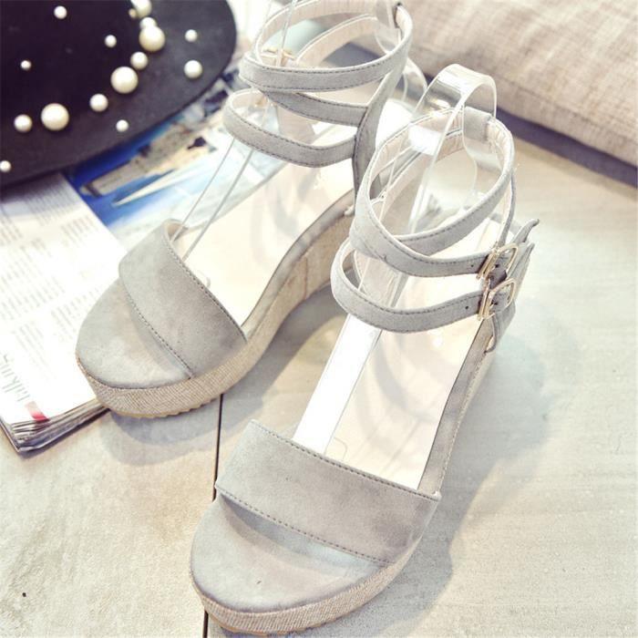 Sandale Femme Beau Qualité Supérieure été Chaussure Elégant Rétro Classique Respirant Sandales Couleur unie Doux 35-39 KVd7nA