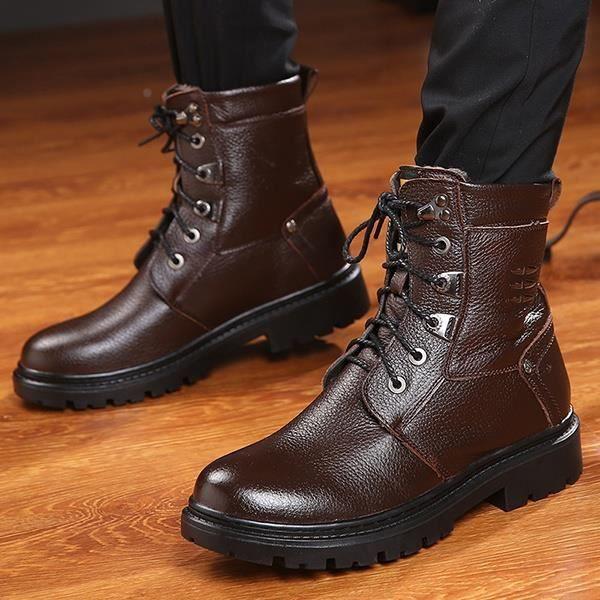 Bottes d'hiver des hommes de cuir véritable Martin Bottes