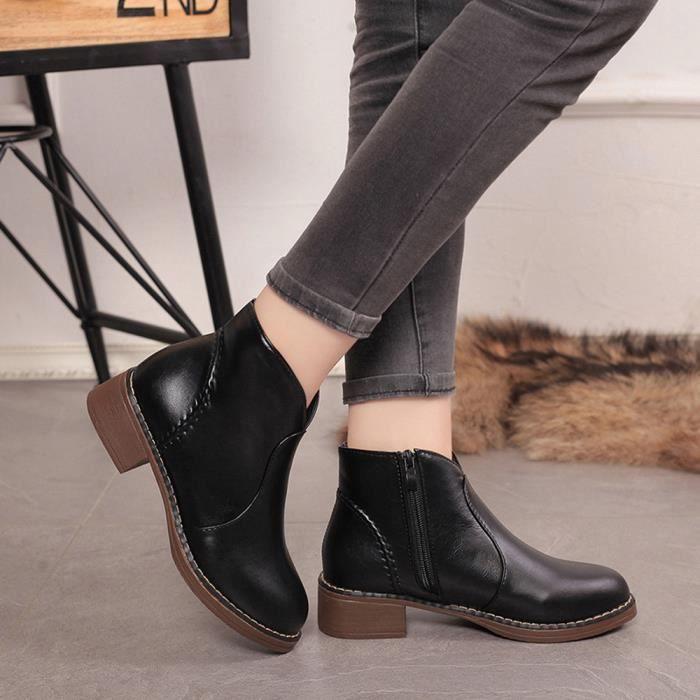 Deessesale®Femmes bottes cheville ronde orteil plate-forme hiver mode  populaire Noir ZJW70926491BK 4e7dc747db97