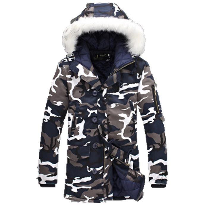 nouveau produit 98afa 9b4e5 Doudoune homme Camouflage hiver épaississement Capuche à col en fourrure  Doudoune homme Moyen et long chaud Doudoune Loisirs de