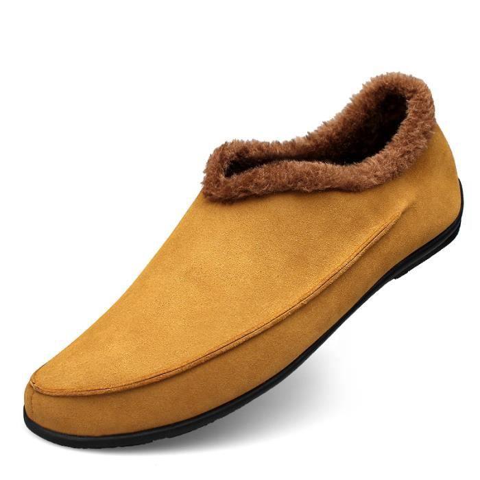 Chaussures On Jaune Slip Doublé Homme Fourrure En Velours IfyY7v6bg