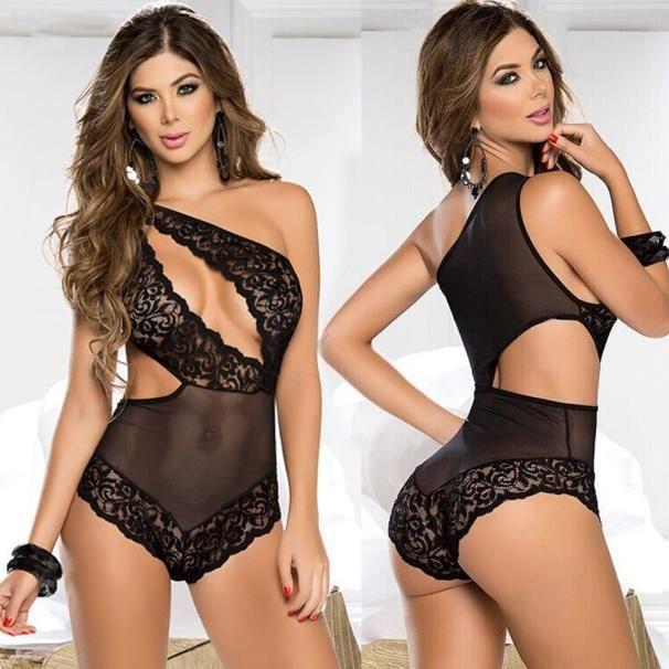f027536c563 Lingerie sexy pour femmes Robe en dentelle Sous-vêtements noir Babydoll de  nuit Tenues  Noir L
