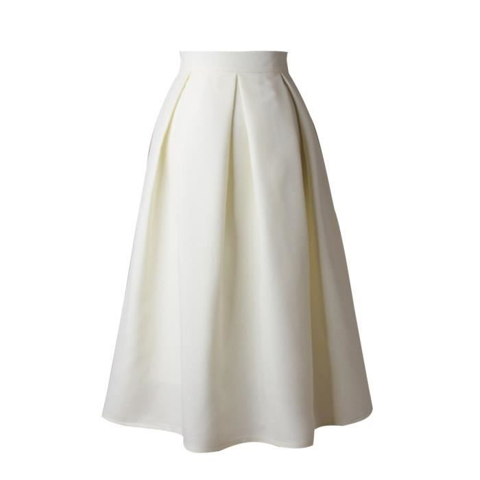 a19fd75d5a6f Femmes Jupe taille haute évasé Jupe plissée Une ligne Jupe pleine rue Jupe  mi-longue blanc XL