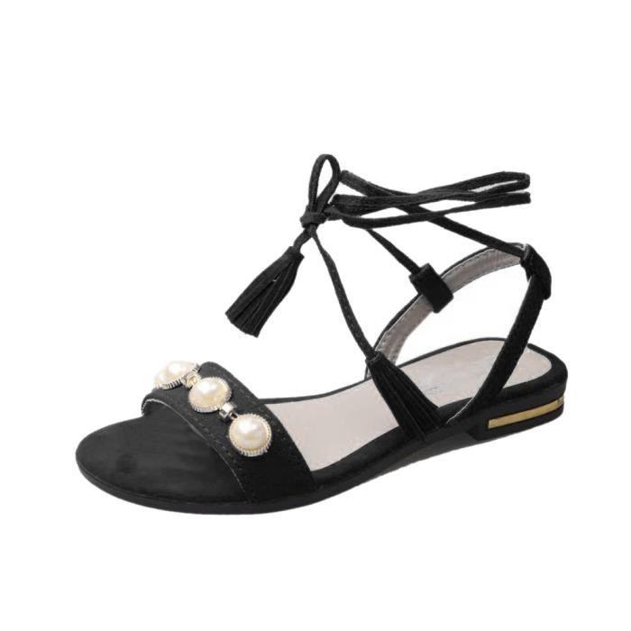 noir Plage Plat Chaussures Gland Mode Talon Pantoufle Sandales Perle Anti Femmes Dérapage wFPgq1