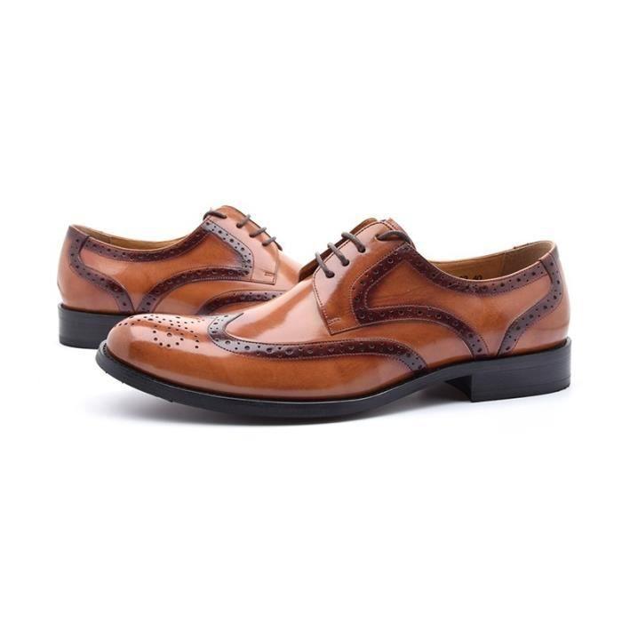 Luxe Hommes Chaussures Marque main Brogue Mode Homme Flats en cuir véritable de qualité supérieure Brown Oxford v1FA124W0k