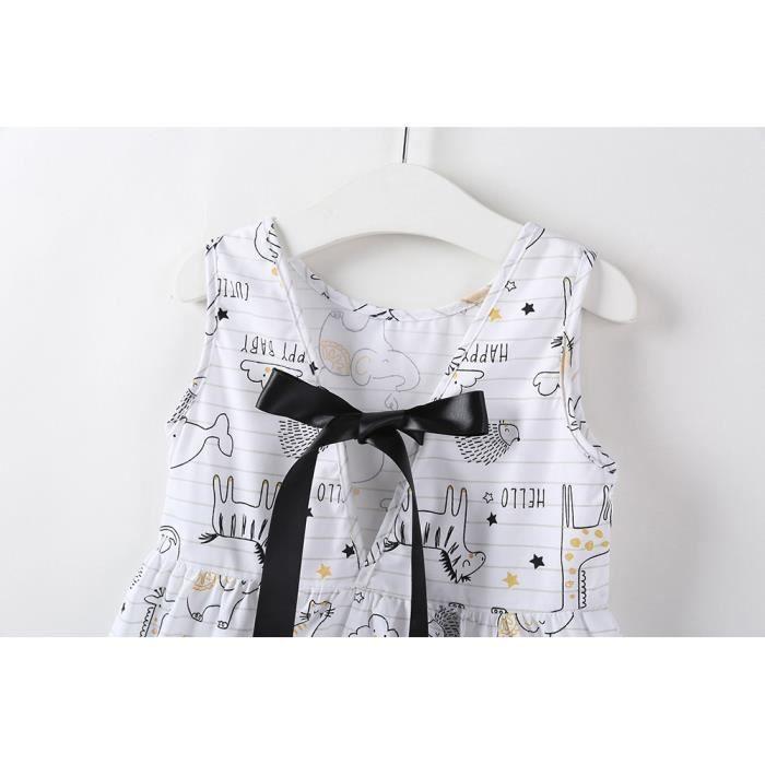 En Blanc Manches Bretelles Filles Bébés nt 5349 Bow Robe Sundress Âge À Imprimer Floral Bas Courtes Vêtements Enfant dwqZxgd