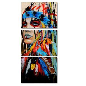 OBJET DÉCORATION MURALE 3pcs Indien Femme Toile NON ENCADREE Peinture à l'