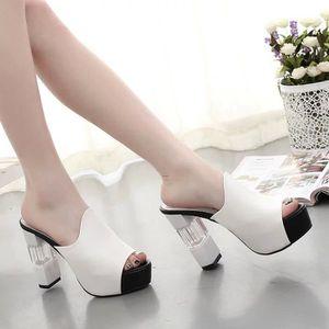 Eté Femmes Mules Sandales Talon Haut Plateforme Peep Toes Talon Cristal Chaussures Chunky noir TAILLE 40 2c7dcLH