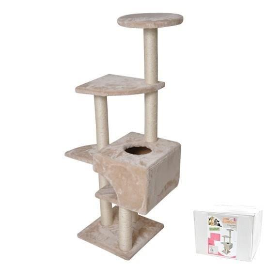 Dimensions : h120 cm x base 35,5 x 35 - 5 cm - Utilisation en intérieur.ARBRE A CHAT