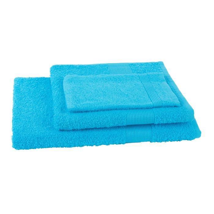 JULES CLARYSSE Lot de 1 serviette + 1 drap de bain + 1 gant de toilette Viva Bleu Turquoise