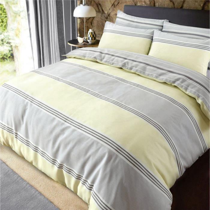 housse de couette gris et jaune achat vente pas cher. Black Bedroom Furniture Sets. Home Design Ideas
