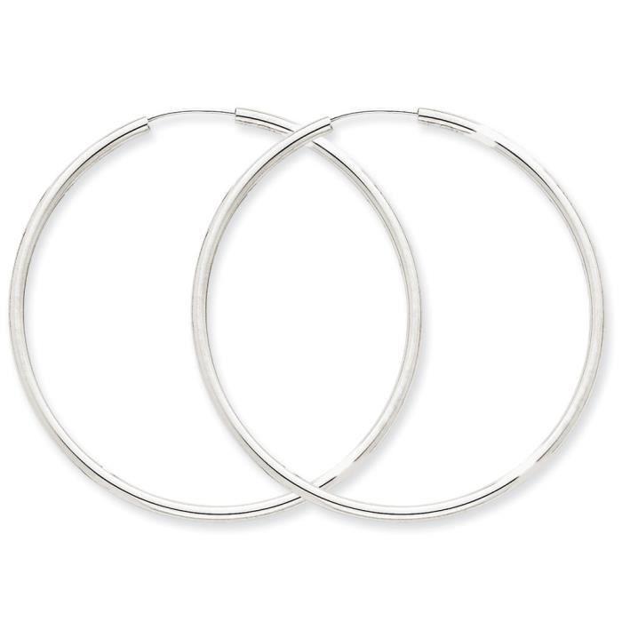 Or blanc 14 carats 2 mm-poli-Boucles doreilles anneaux
