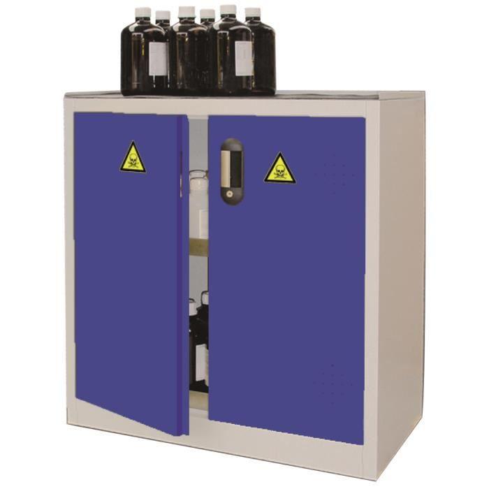 Armoire de sûreté pour produits dangereux capacité 80 litres 1 porte L 500  x P 500 x H 1000 mm coloris bleu 10d955599eb