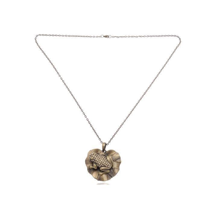 Topaz Cristal strass Lily Pond récupération de grenouille en Costume Fashion Collier Pendentif