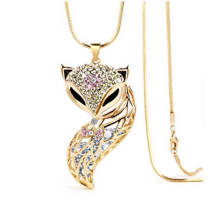 Or Collier élégant de bijoux Fox Fashion Clothing Pull long de la chaîne