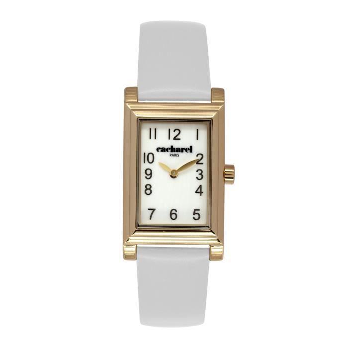 ff1bd908a3 Cacharel - CLD 007-1BB - Montre Femme - Quartz Analogique - Cadran Blanc -  Bracelet Cuir Blanc