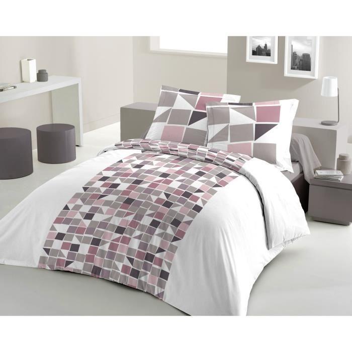 lovely home parure de couette mosa 100 coton 1 housse de couette 240x260cm 2 taies d. Black Bedroom Furniture Sets. Home Design Ideas
