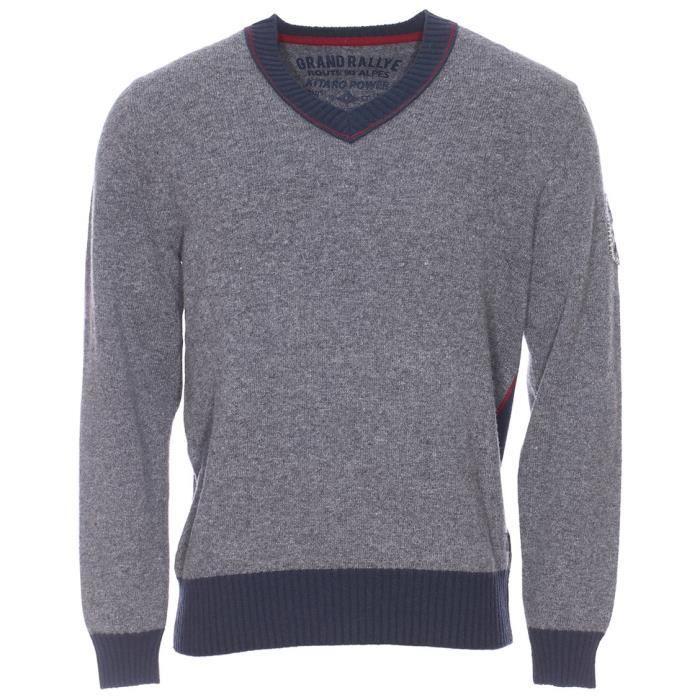 Pull col V en jersey de laine grande taille Kitaro gris et marine 3XL Gris,  Marine, Rouge e878f36775d1