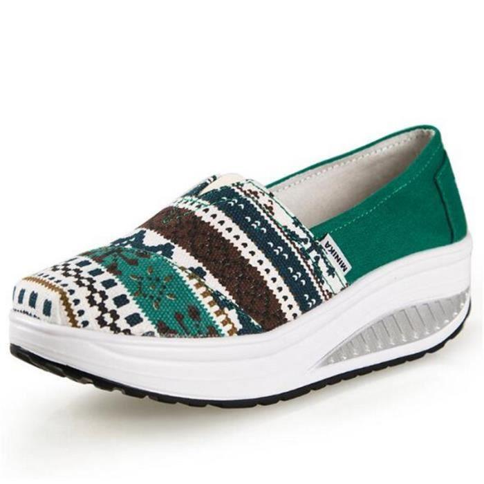 chaussure femmes Nouvelle Confortable Moccasin plates à fond épais Marque De Luxe Loafer femme hauteur croissante Grande Taille