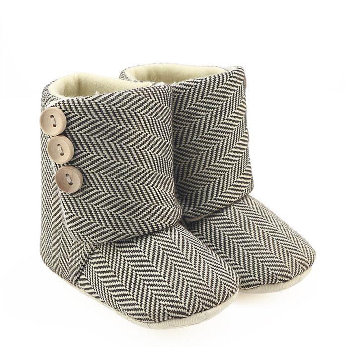 Frankmall®Filles garçons rayures berceau bottes semelle douce prémarcheur chaussures chaudes#WQQ0926414