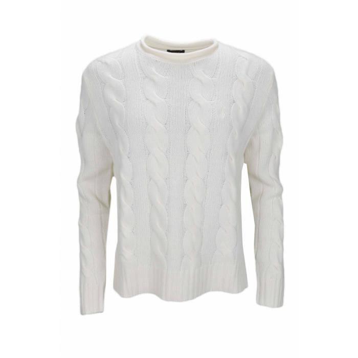 d4250f1ae5d Pull col rond Ralph Lauren torsadé blanc crème pour femme - Taille  M -  Couleur  Blanc