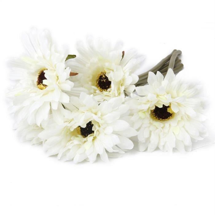 5pcs Fleur Gerbera Artificielle Decoration Mariage Blanc Achat