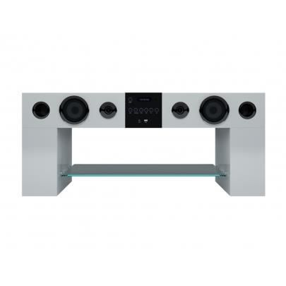 Meuble Tv Home Cinema Integre Stereo Blanc Achat Vente Meuble