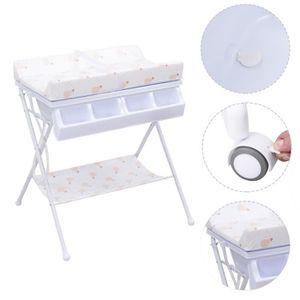 Meuble table langer b b achat vente meuble table - Table a langer avec baignoire pliable ...