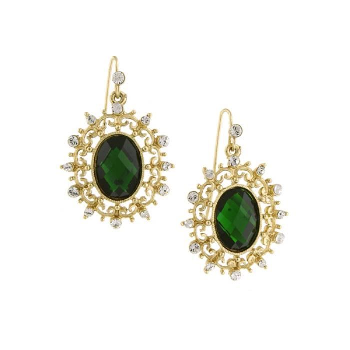 1928 Jewelry Gold-tone Green Stone And Crystal Oval Drop Earrings NPR7I
