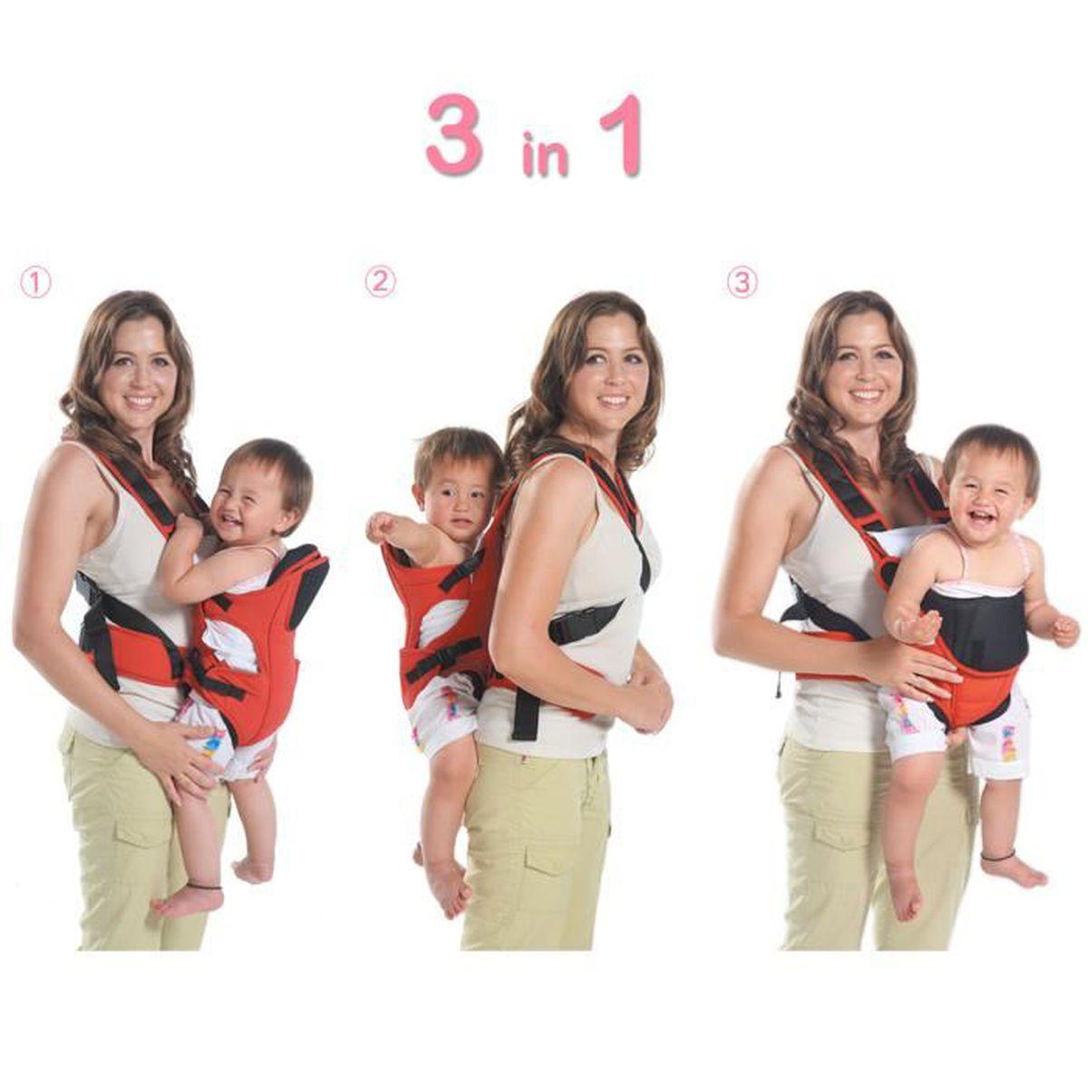 e5a4c41303d MixMart 3-en-1 Porte-bébé Ventral Dorsal Ergonomique Tissu Respirant  Multifonctionnel avec Bavoir pour Bébé de 3